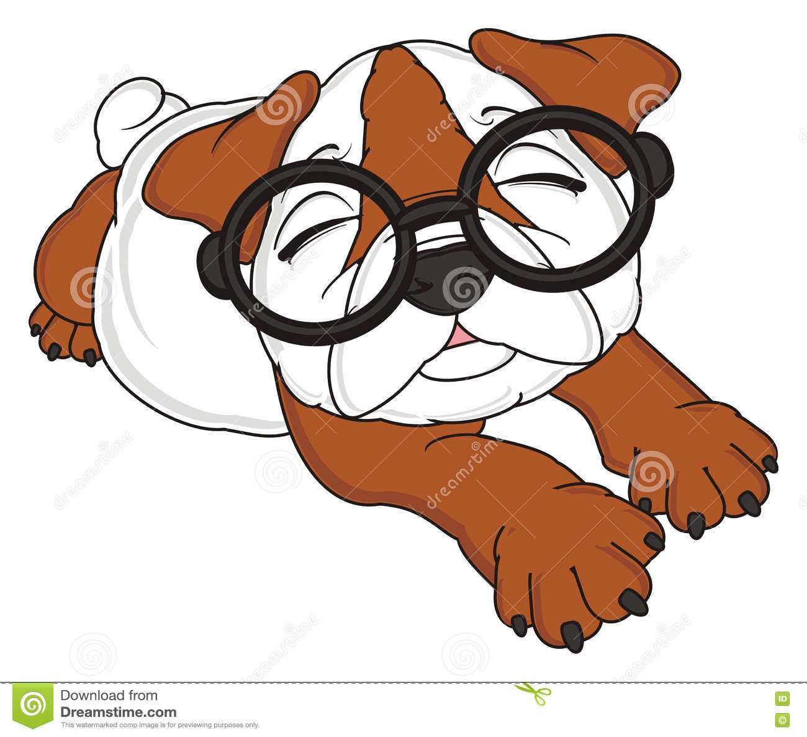Sleeping Bulldog In Glasses Stock Illustration Illustration Of