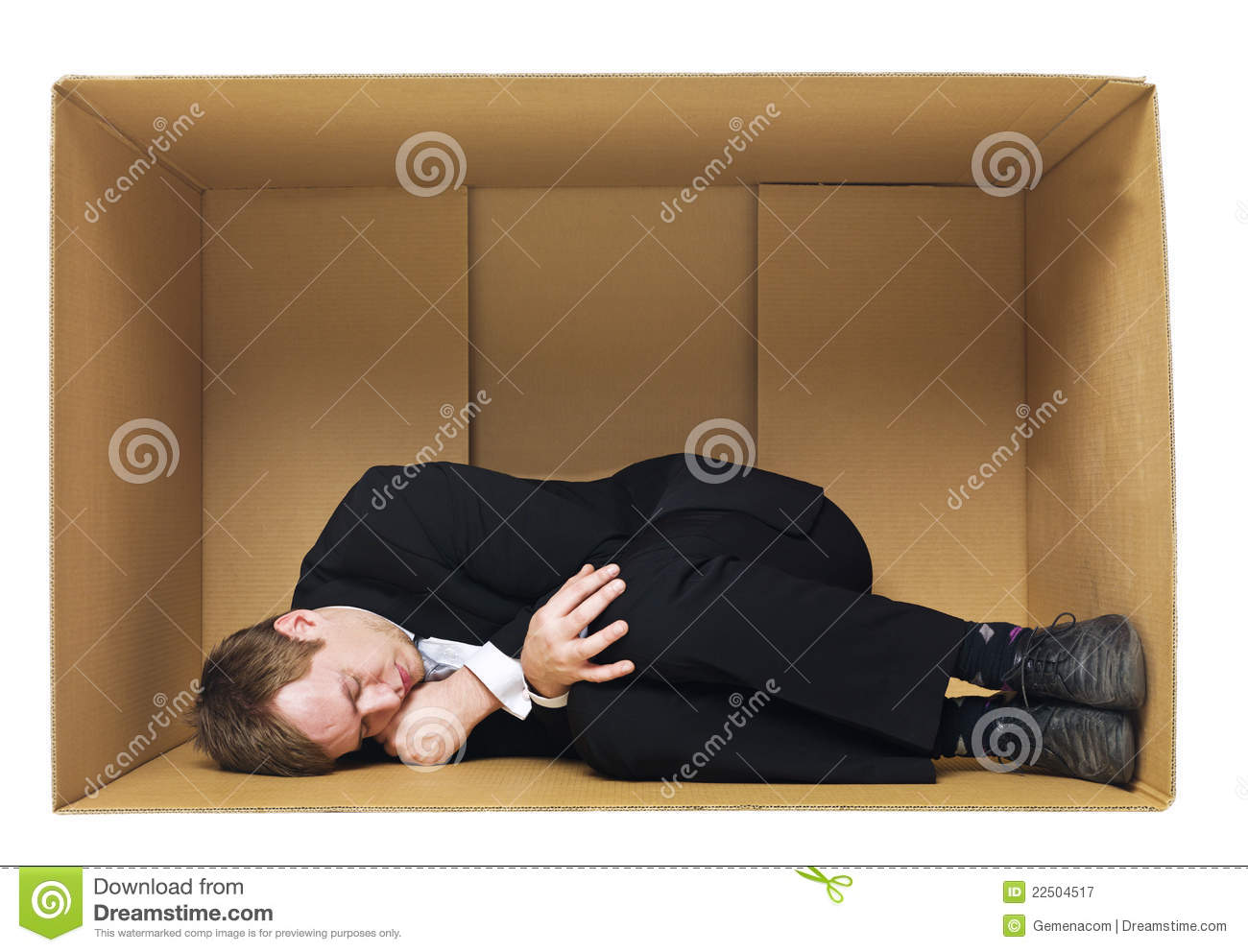 sleeping in a cardboard box royalty free stock photography image 22504517. Black Bedroom Furniture Sets. Home Design Ideas