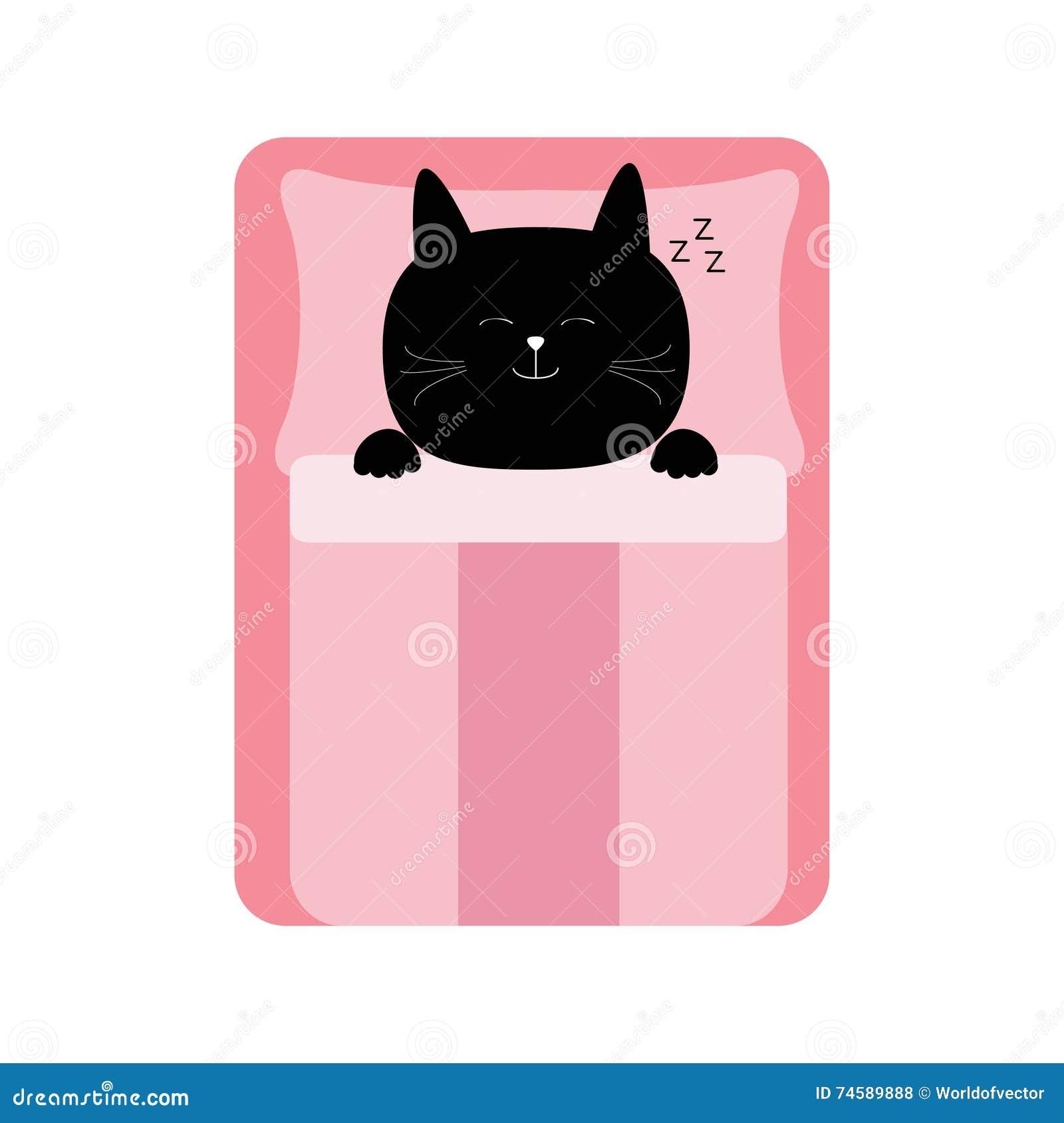 Cartoon Little Baby In Bed With Cat Cartoon Vector