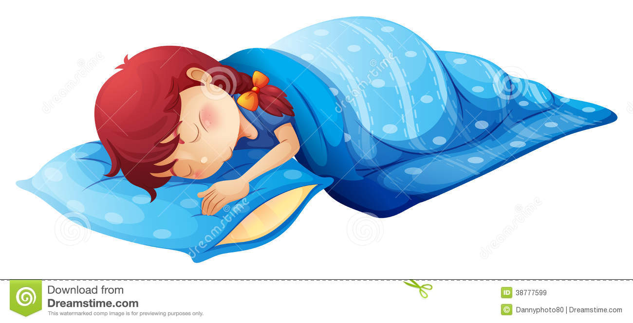 Illustration of a sleeping child on a white background.