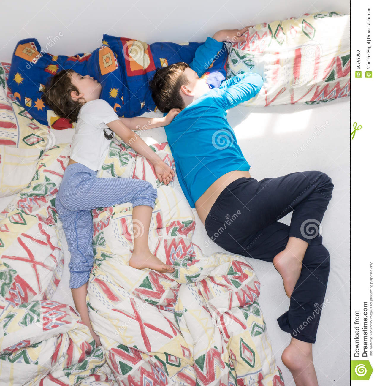 Sleeping Children Relax Resting Boys Brothers Family Stock ...