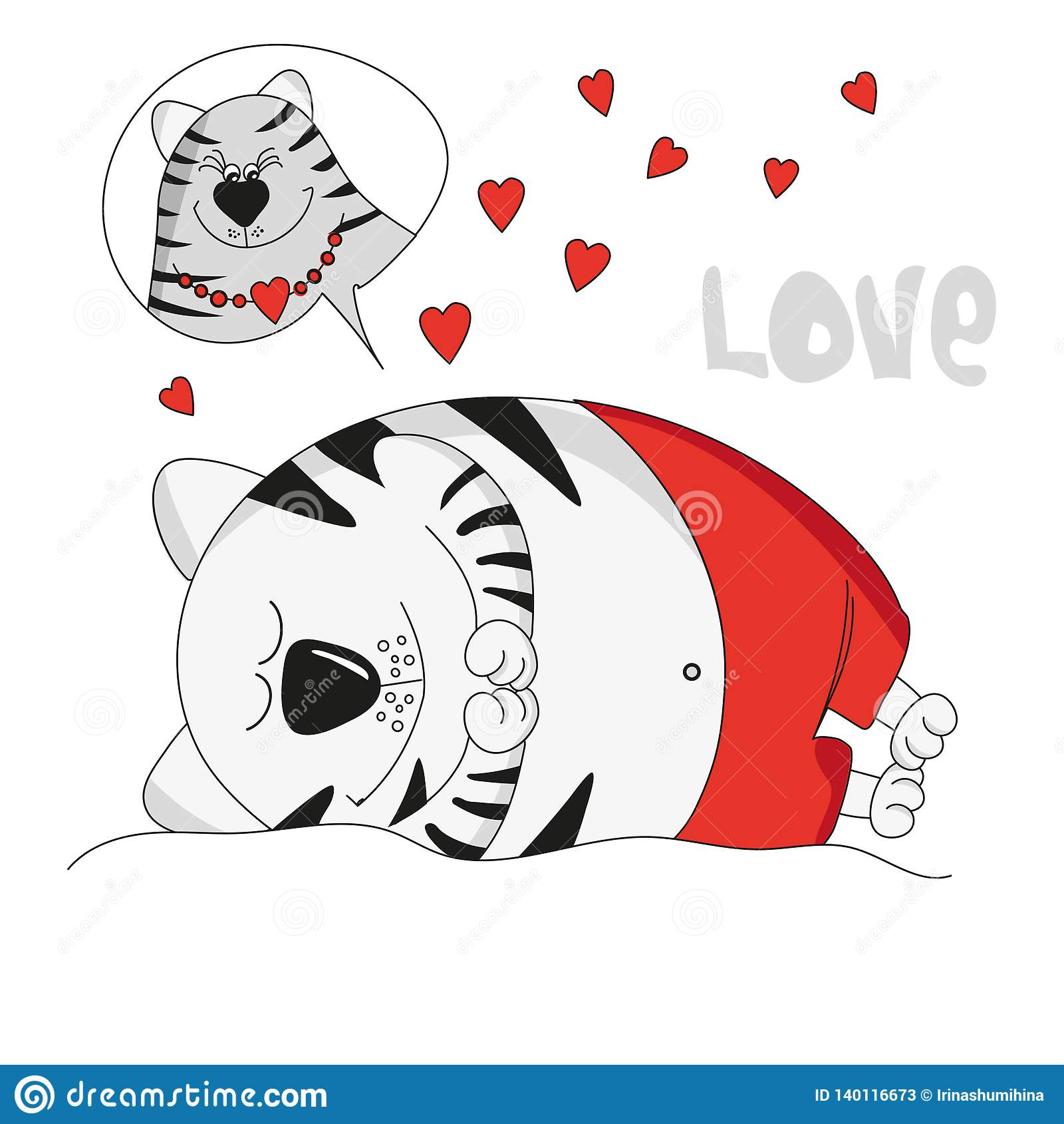 Sleeping cute cat sees a romantic dream spring holiday valentines day suitable