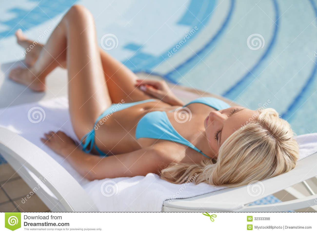 sleeping on the deck chair  beautiful young women in