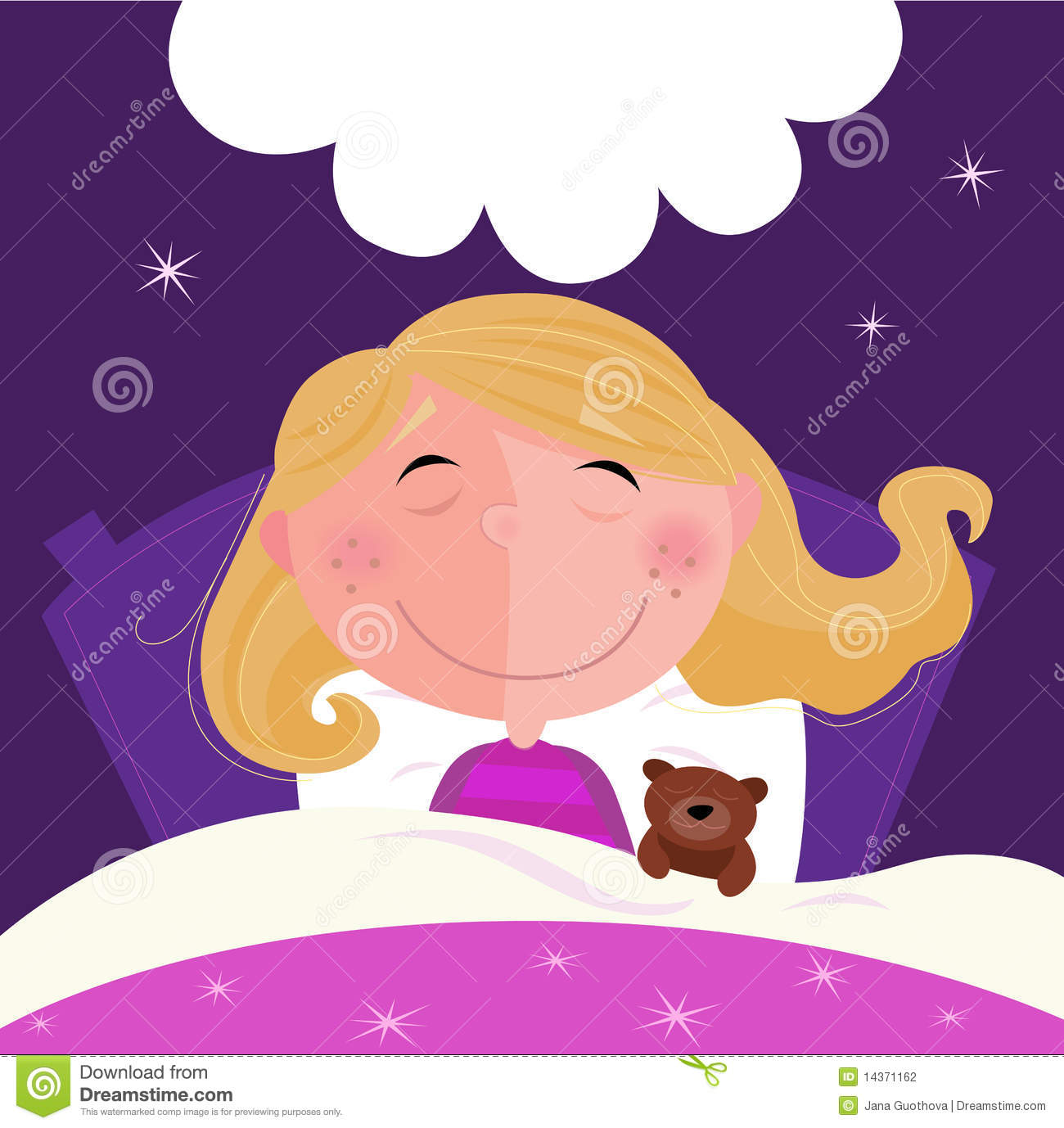 Jana Only Sweet Girls: Sleeping And Dreaming Girl In Pink Pyjama Stock Vector
