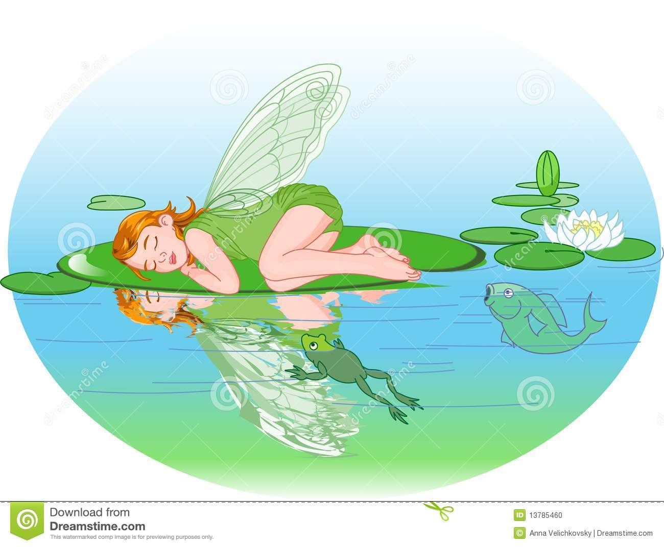 sleeping elf stock vector illustration of pond girls 13785460
