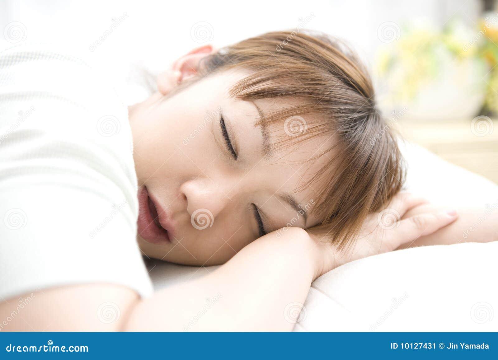 Sleeping Face Of Japanese Woman Stock Image - Image: 10127431