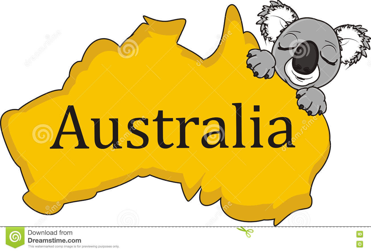 sleeping face of koala with continent australia stock illustration