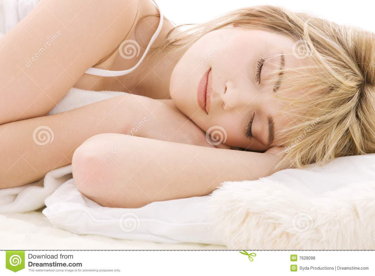 Download Sleeping girl stock photo. Image of closeup, bedding, female - 7628098