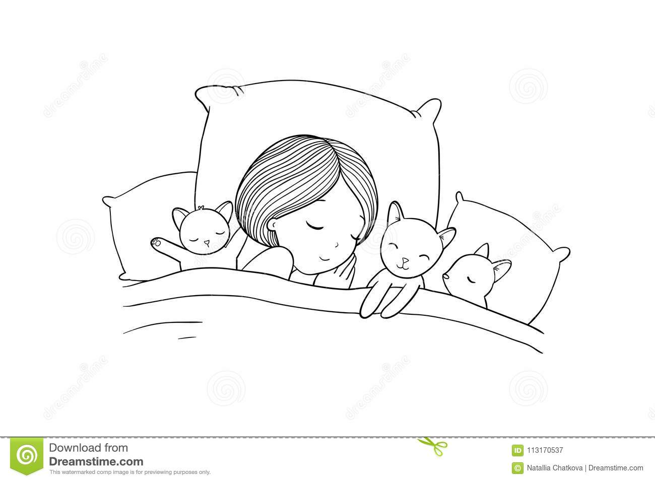 Sleeping Girl And Cat In Bed. Good Night. Stock Vector ...