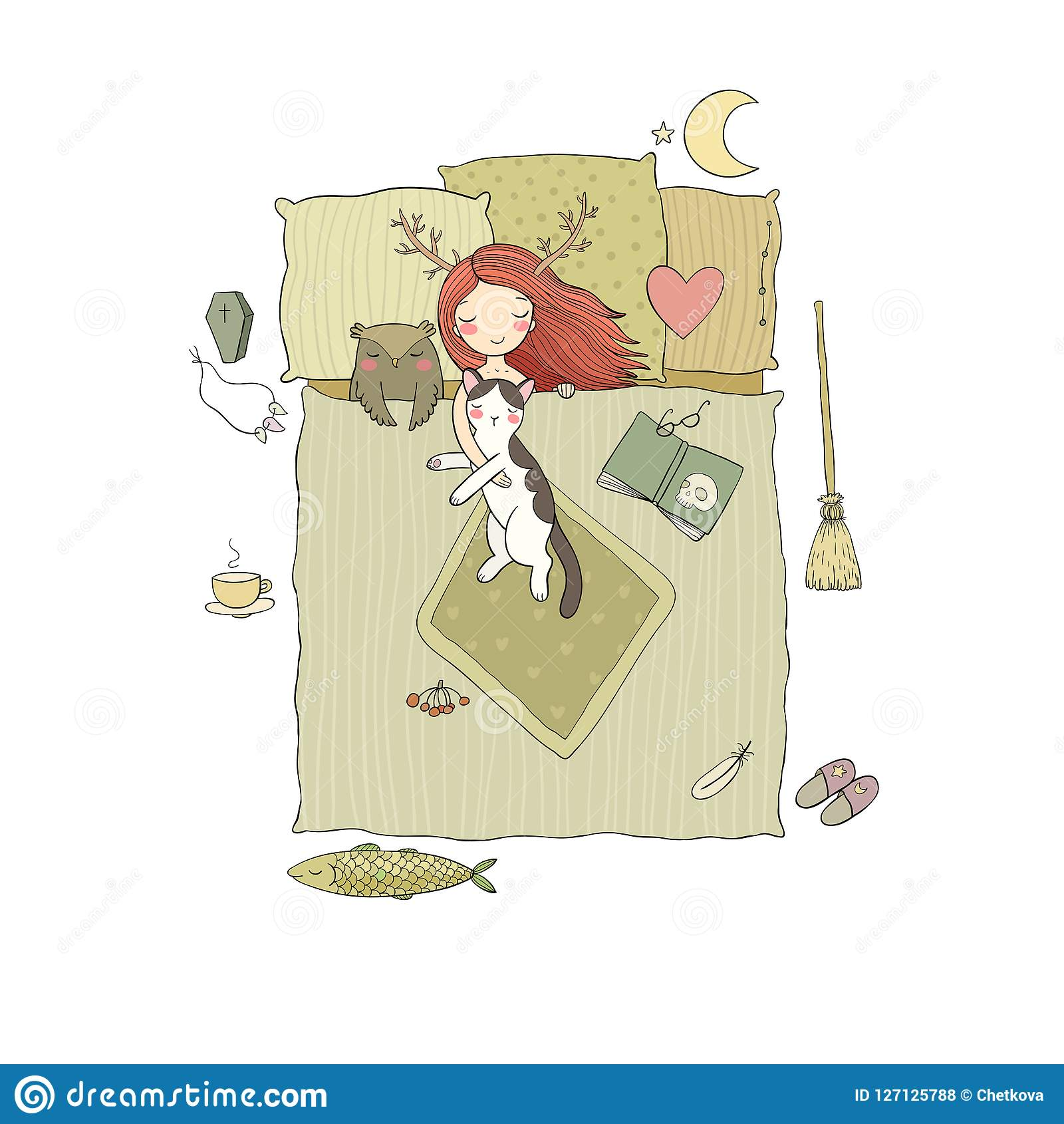 Sleeping Girl And Cat Good Night Sweet Dreams Stock Vector