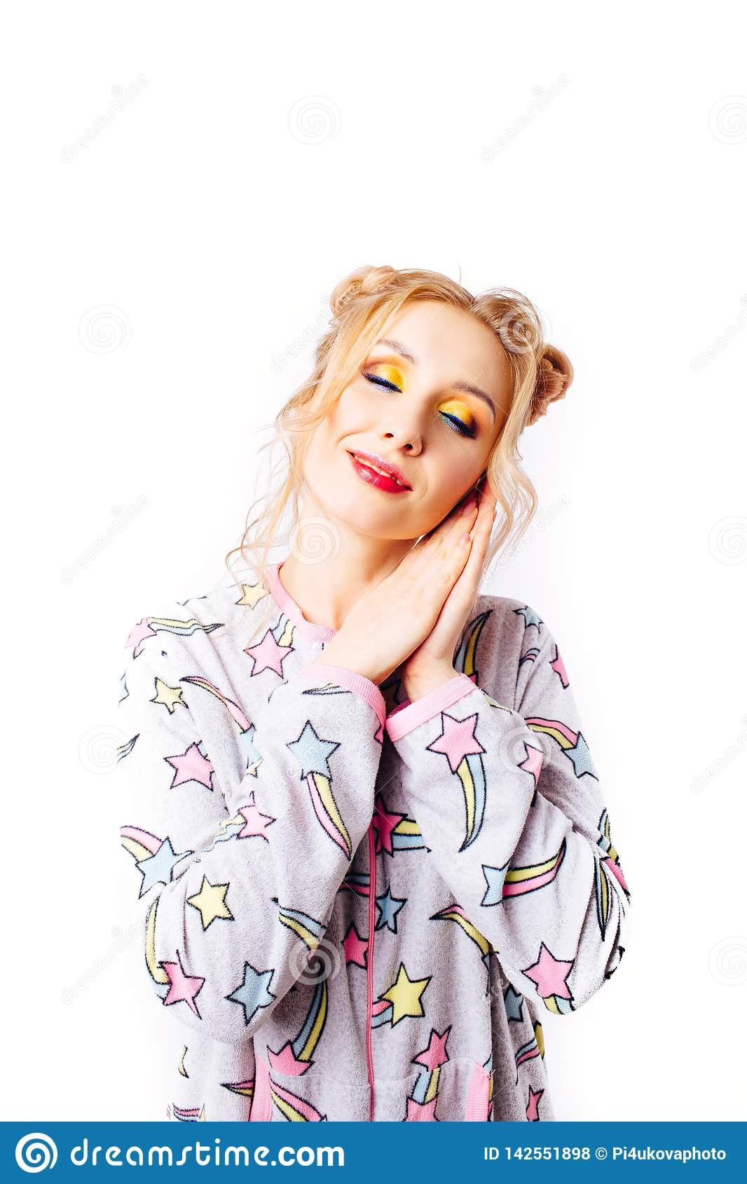 Sleeping girl in pajamas