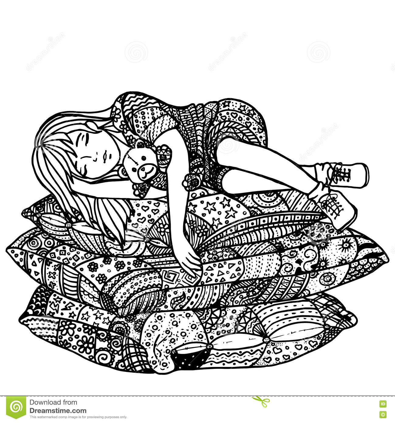 Sleeping Girl On Pillows Pattern For Adult Coloring Book Hand Drawn Design With Ethnic