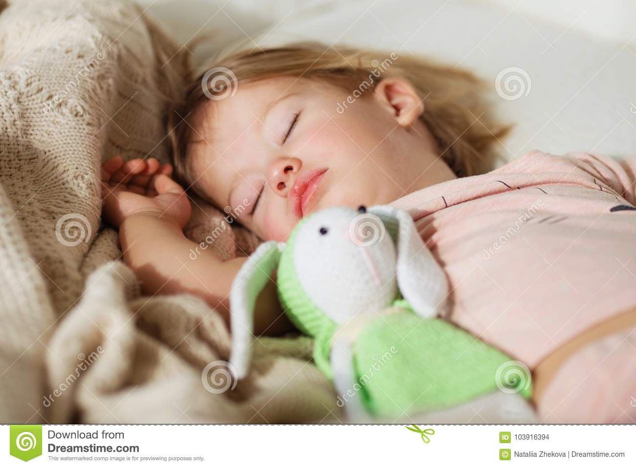 f1d081d40 Sleeping Little Girl. Carefree Sleep Little Baby With A Soft Toy ...