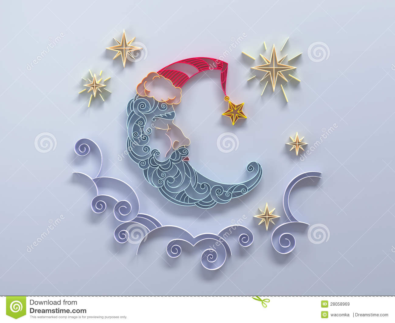 Sleeping moon decoration quilling stock illustration for Decoration quilling