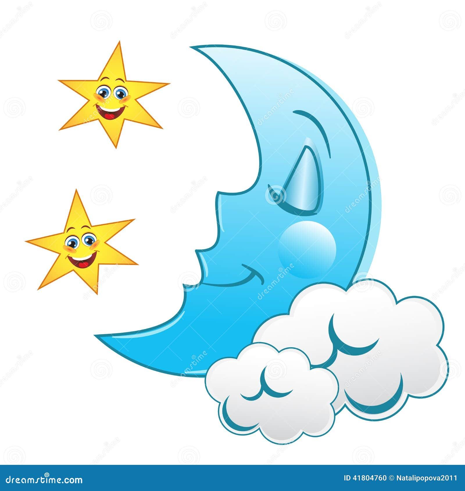 Sleeping moon stock vector. Illustration of character ...