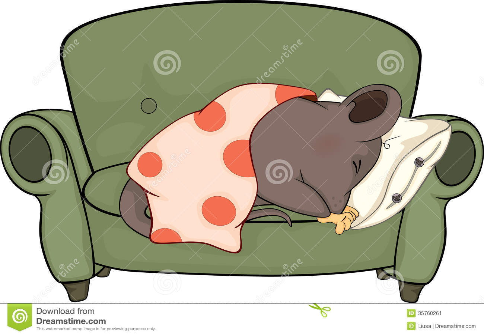 Sleeping Mouse Cartoon Stock Image Image 35760261