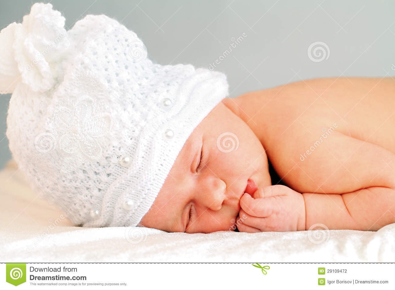Sleeping Newborn Baby Girl In White Hat Stock Photography ...