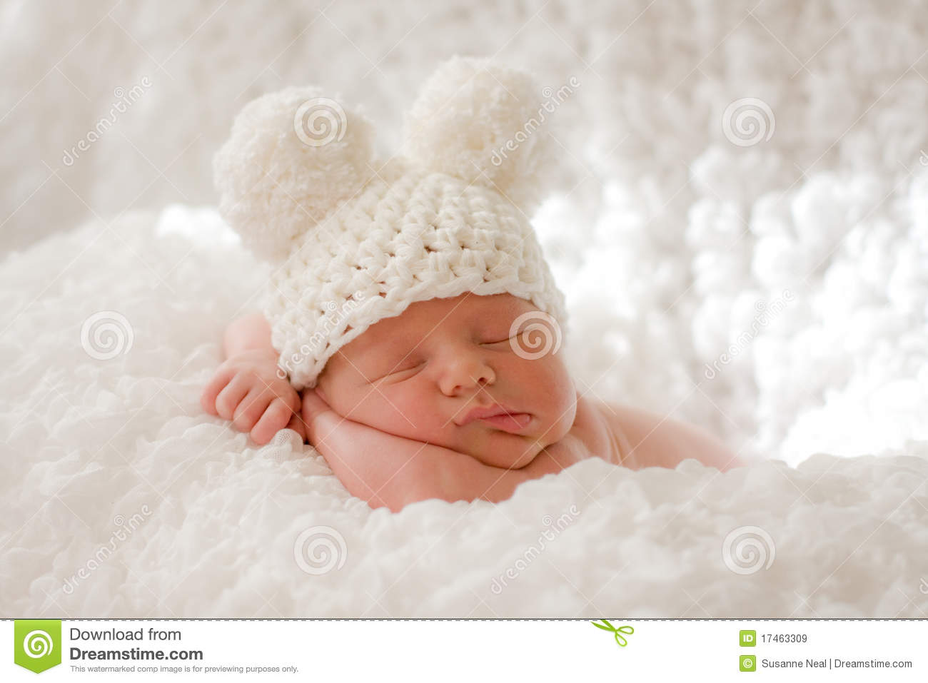 Sleeping Newborn Baby In Knitted Cap Stock Image