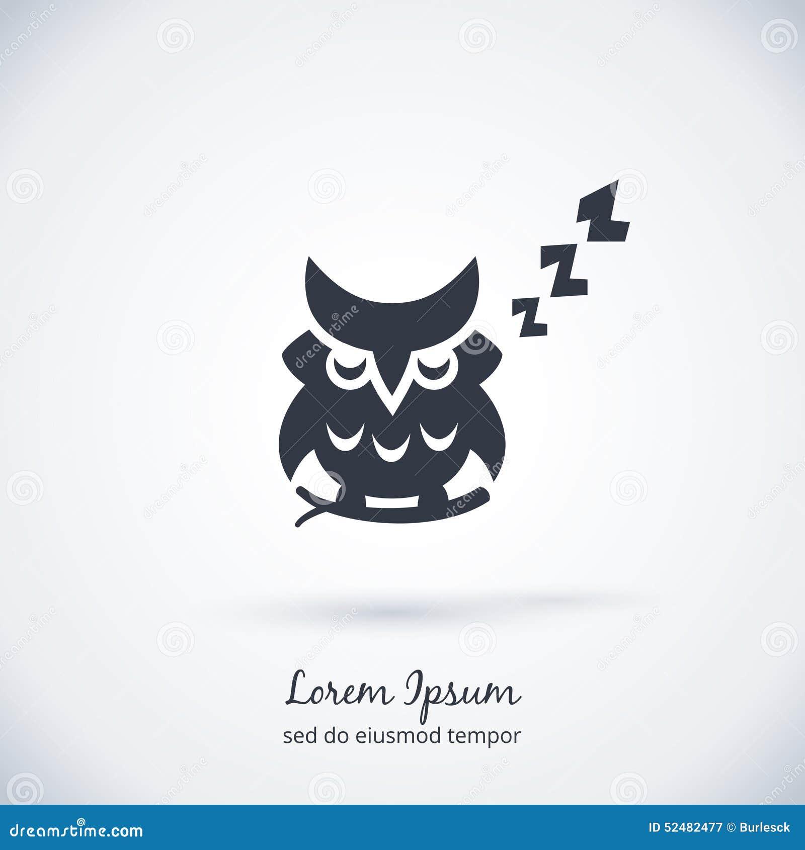 Sleeping owl logo. Dream concept icon