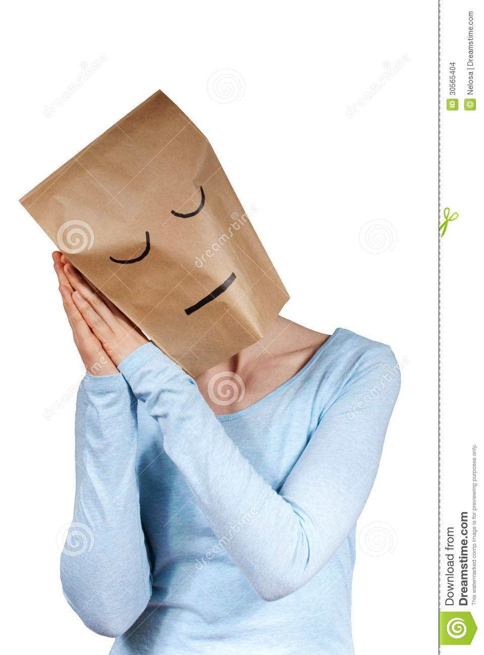 a sleeping paper bag head stock images image 30565404 a sleeping paper bag head