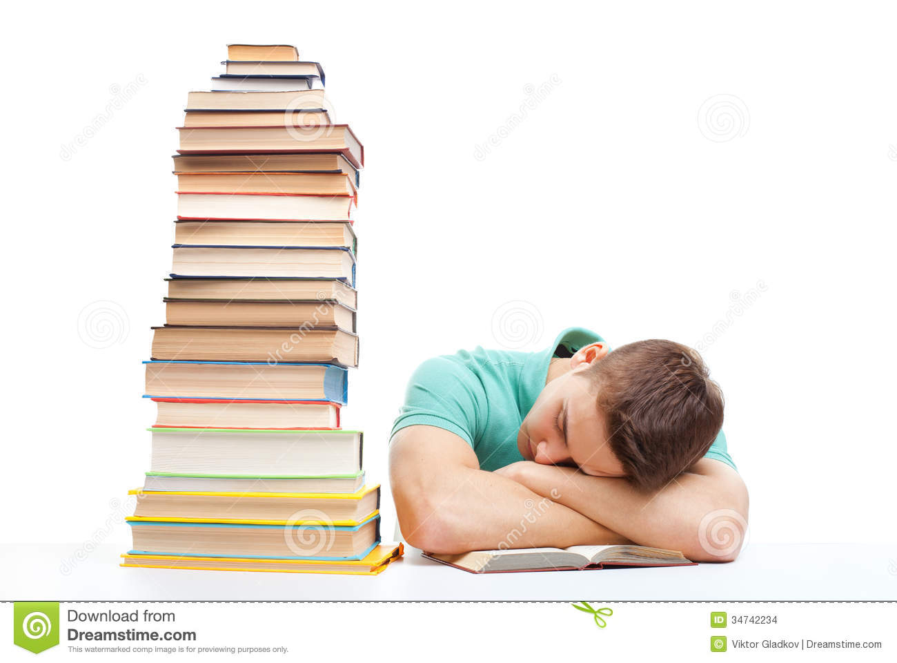 ... Images: Sleeping student sitting at the desk with high books stack School Desk Background