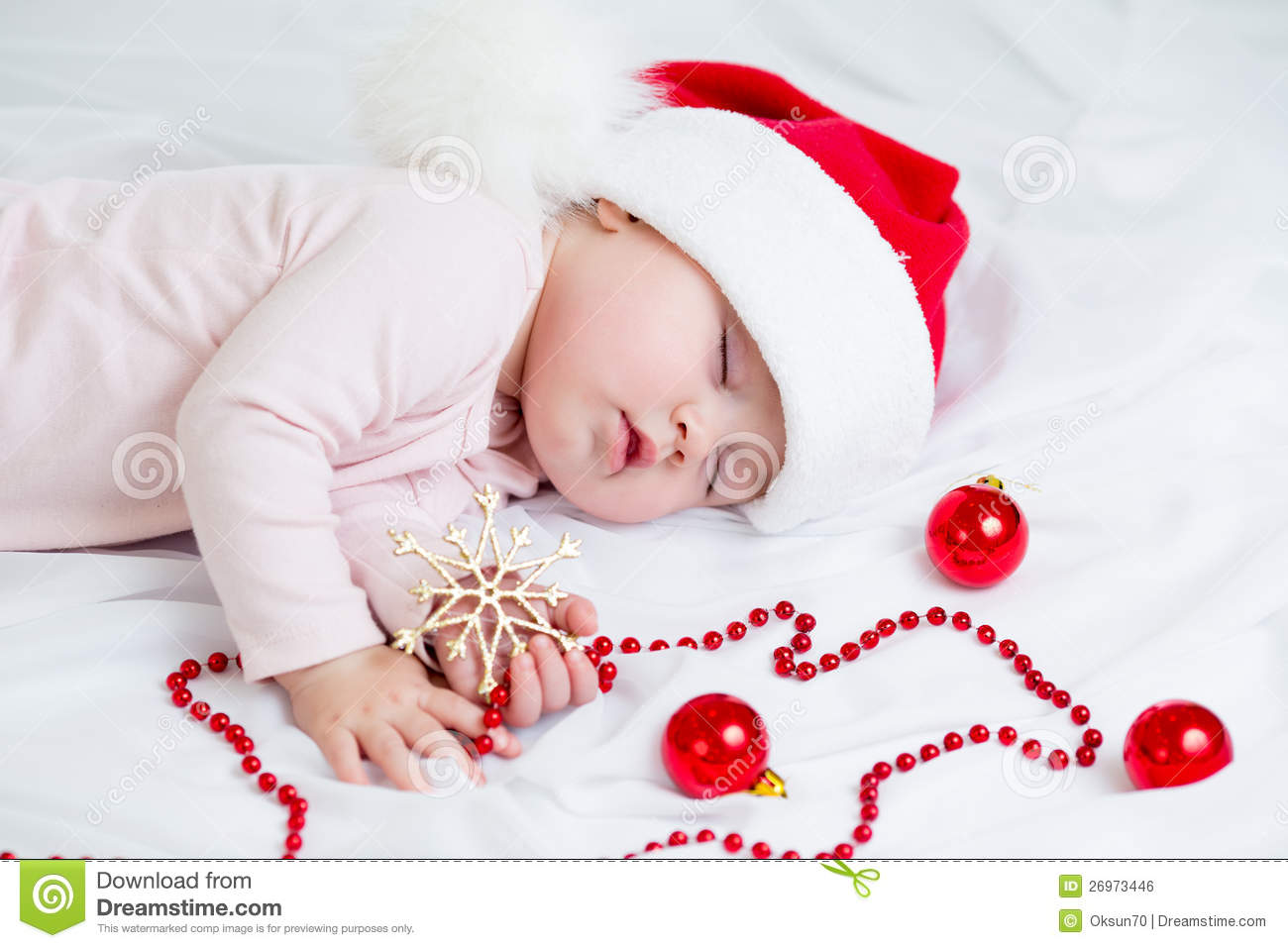 Sleeping Sweet Baby Girl Santa Claus Stock Photo Image Of Hands Santa 26973446