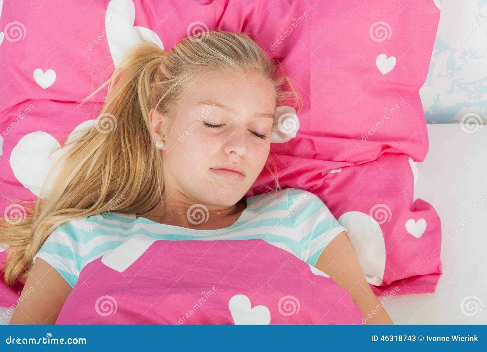 Sleeping Teen Girl Stock Photo - Image: 46318743