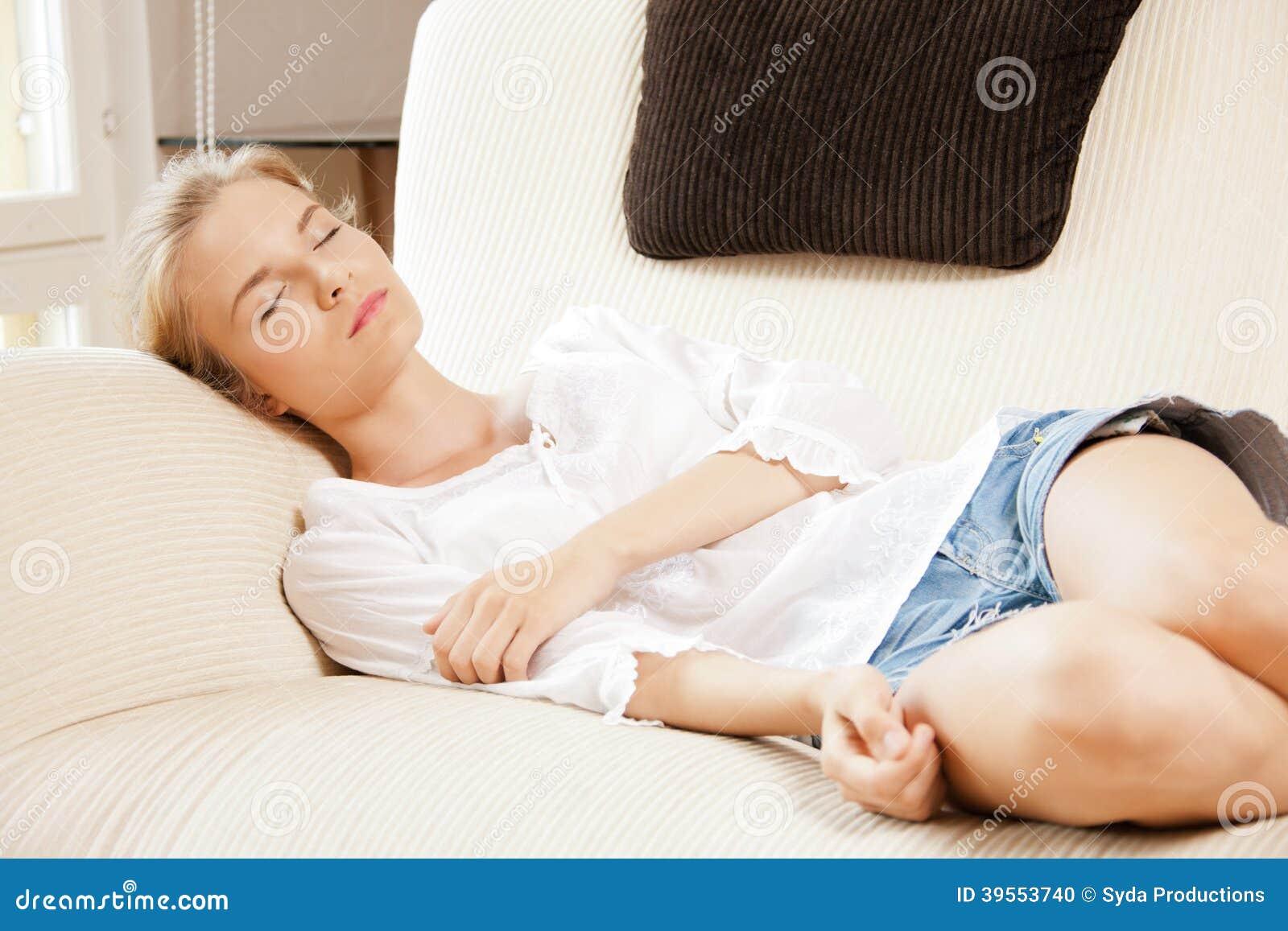 sleeping teenage girl at home stock photo image 39553740