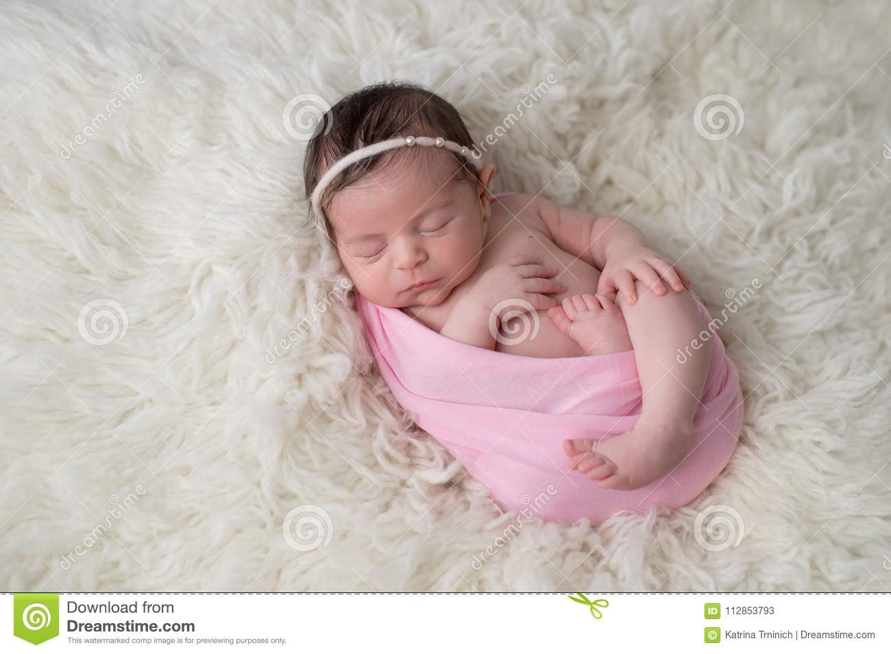 Swaddled Sleeping Newborn Baby Girl Stock Image Image Of