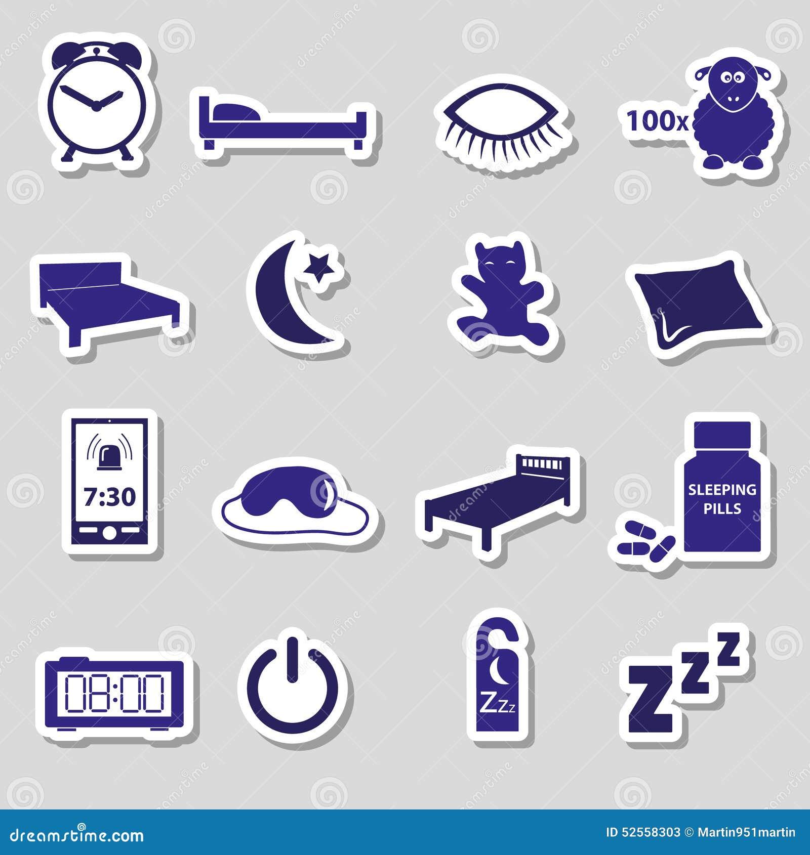Sleeping Time Blue Stickers Symbols Set Stock Vector Illustration