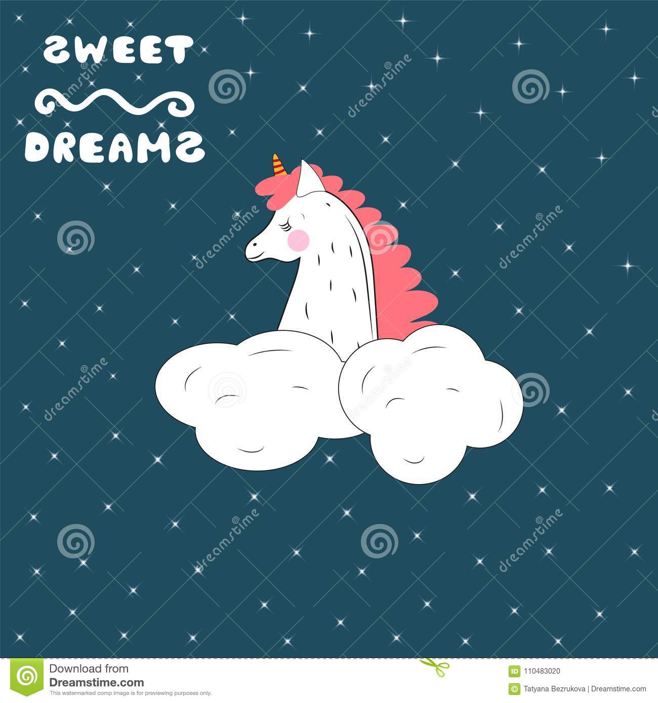 A sleeping unicorn in the starry sky. Vector illustration.