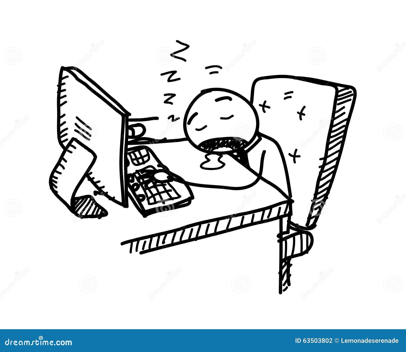 sleeping at work stock vector   image 63503802