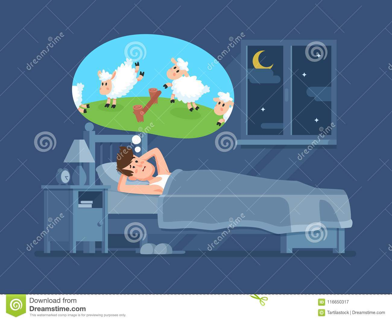 Sleepless Man In Bed Trying To Fall Asleep Counting Sheeps