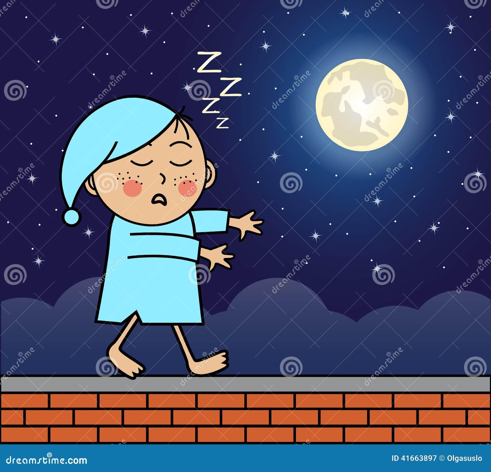 Sleepwalker идя на крышу