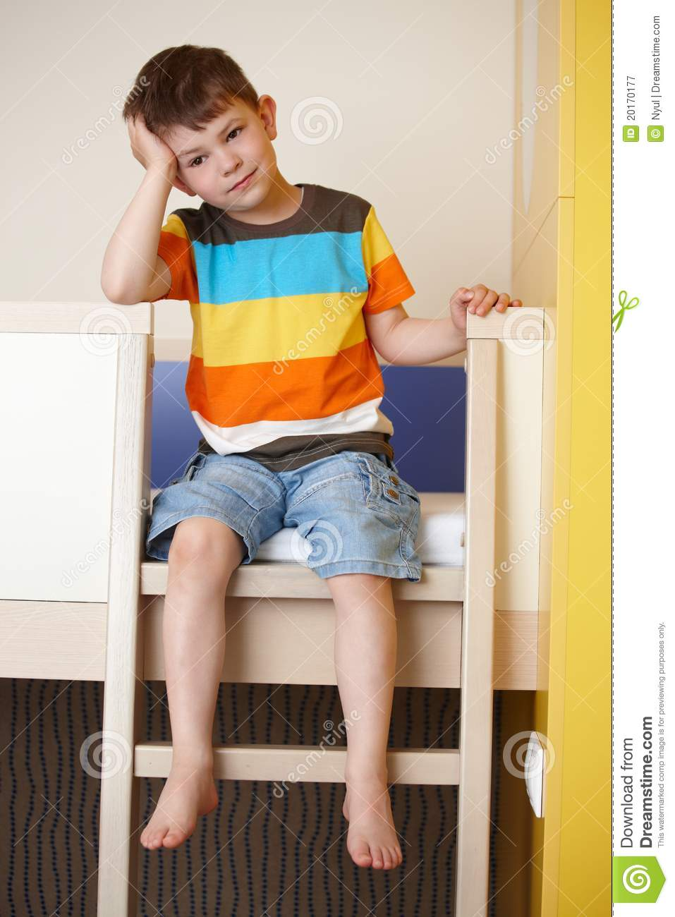 sleepy little boy on bunk bed stock image image 20170177