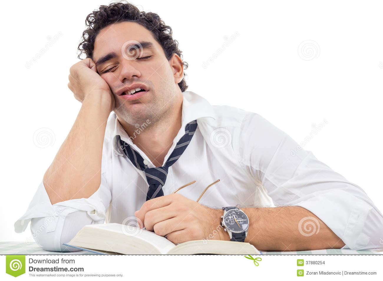 Sleepy Man With Glasses In White Shirt And Tie Sitting ...