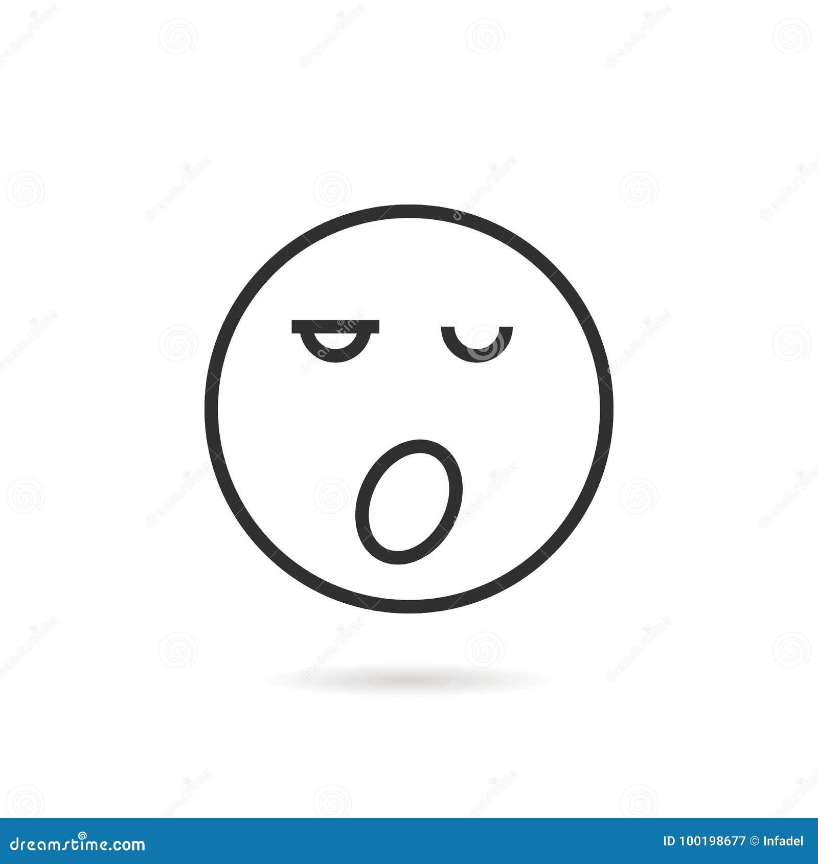 Sleepy Thin Line Emoji Icon With Shadow Stock Vector - Illustration