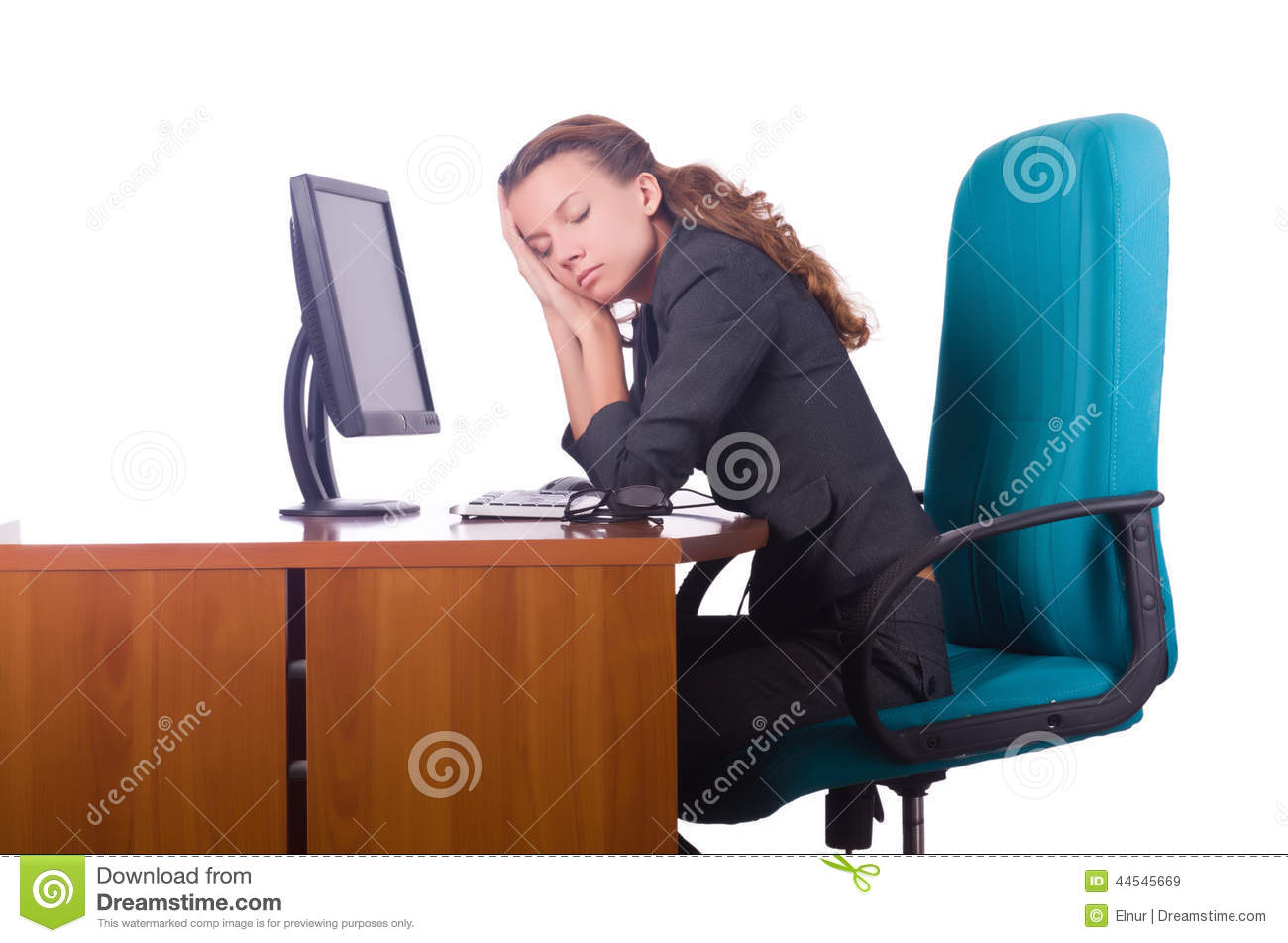 Woman Asleep Desk In Office Stock Photos and Images