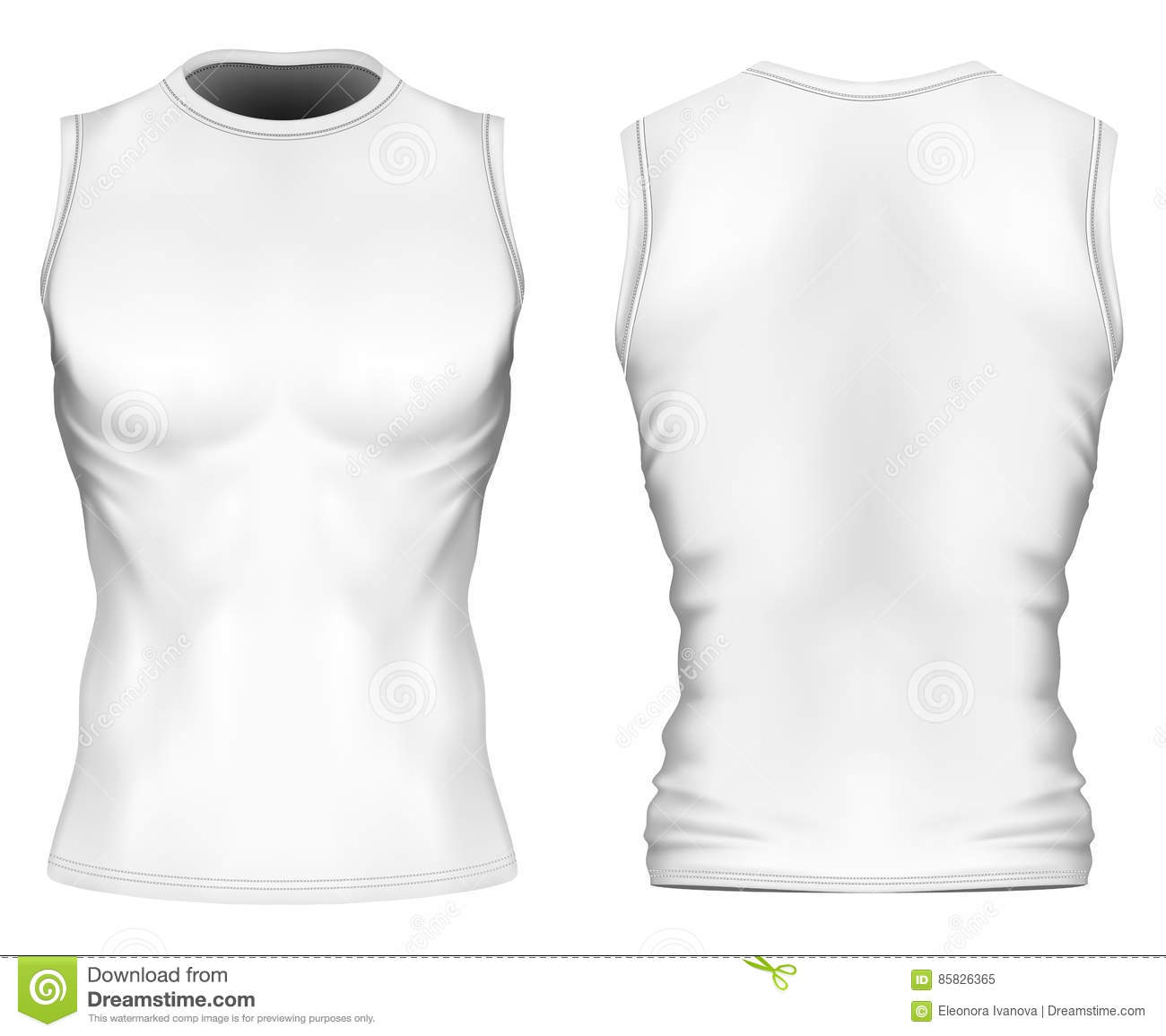 78c063bbad5bb Sleeveless t-shirt with round neck on the mens sports figure. Front and back  views of White variants Vector illustration. Fully editable handmade mesh