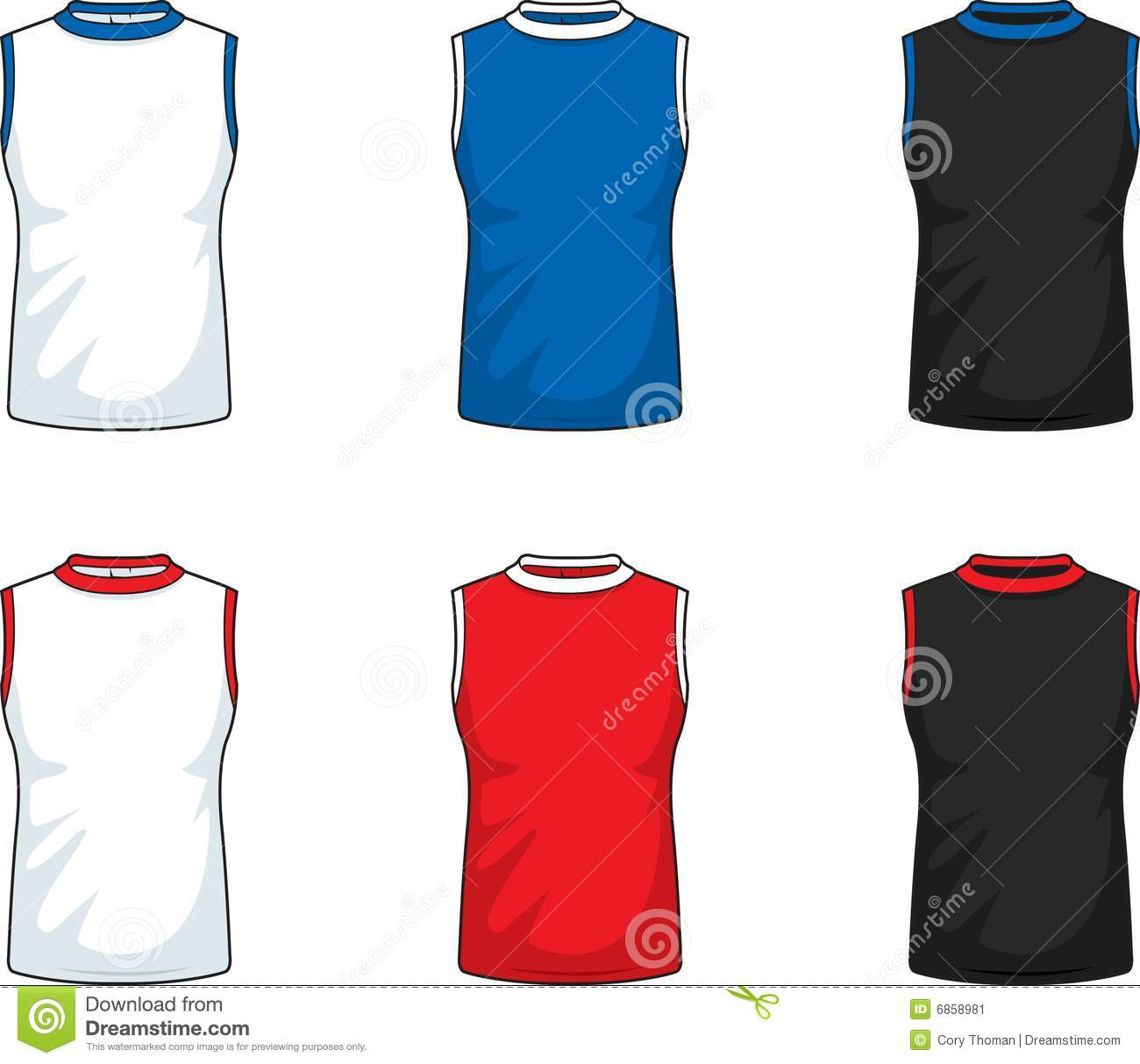 A Variety Of Colored Sleeveless Shirts