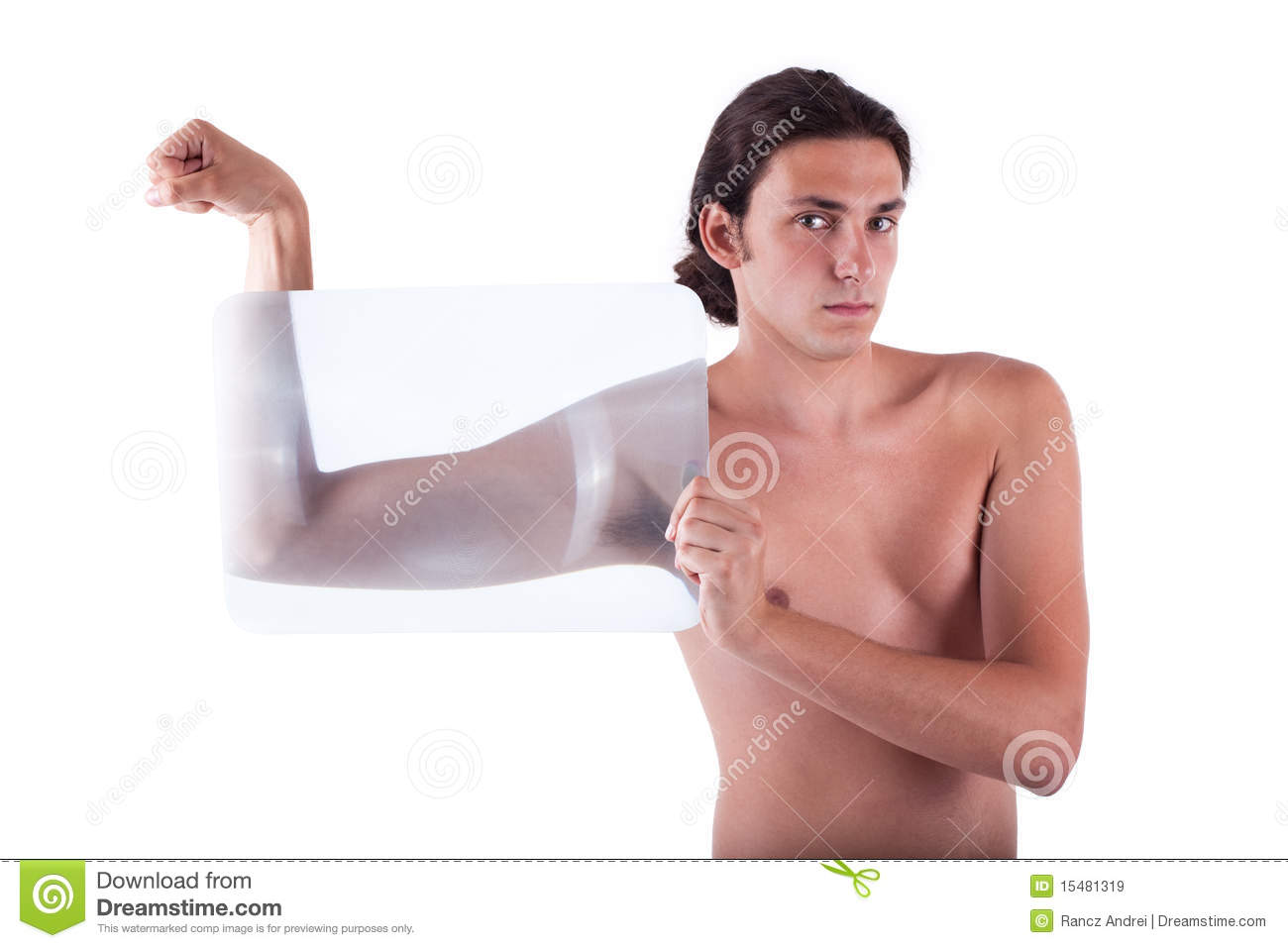 Slender young man flexing with no shirt