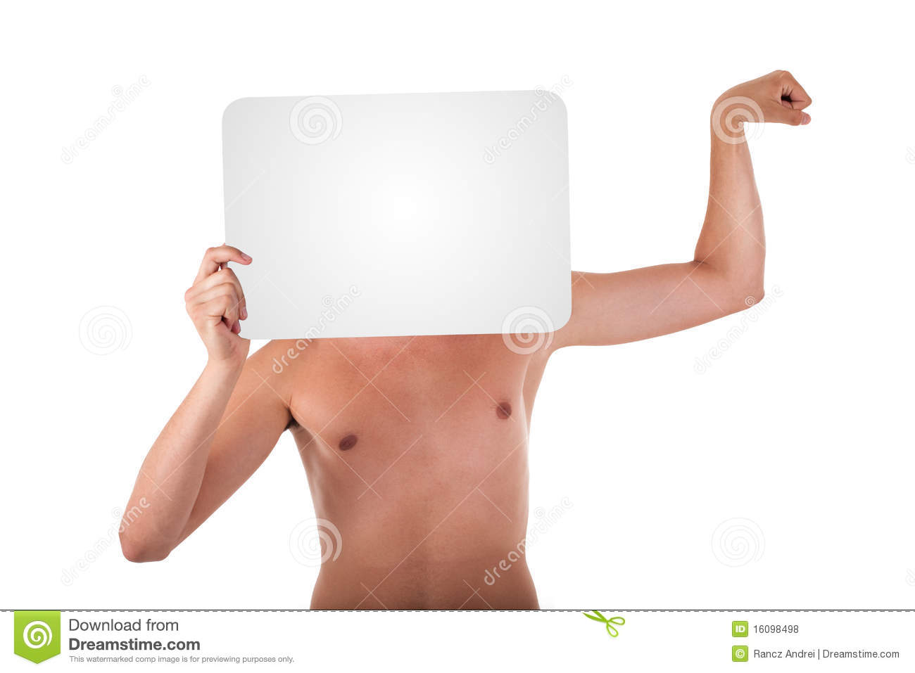 Slender Young Man Holding Text Box Royalty Free Stock ...