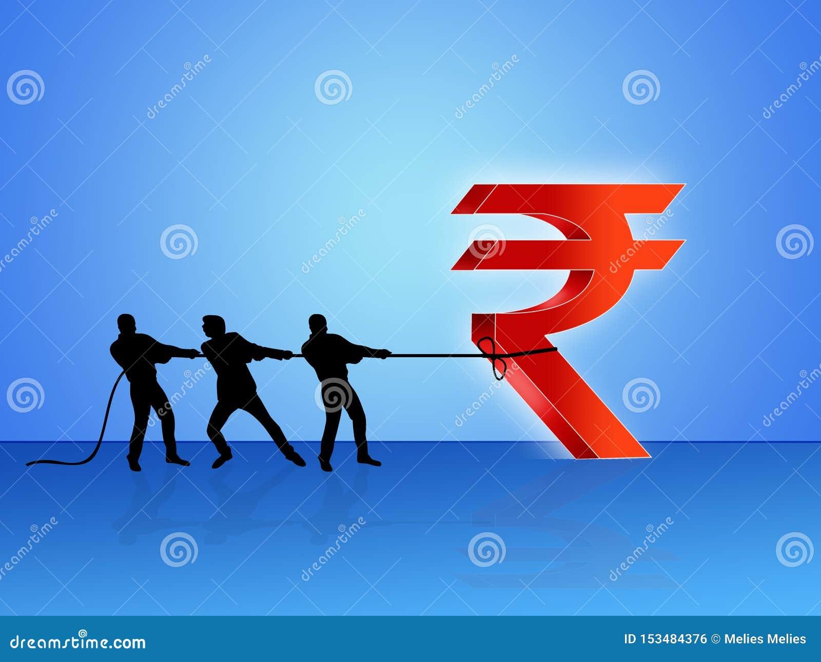 Slepend Indisch Roepiesymbool, de ontwikkeling van India, Indische Financiële Economie, zaken, maken van winst, illustratie