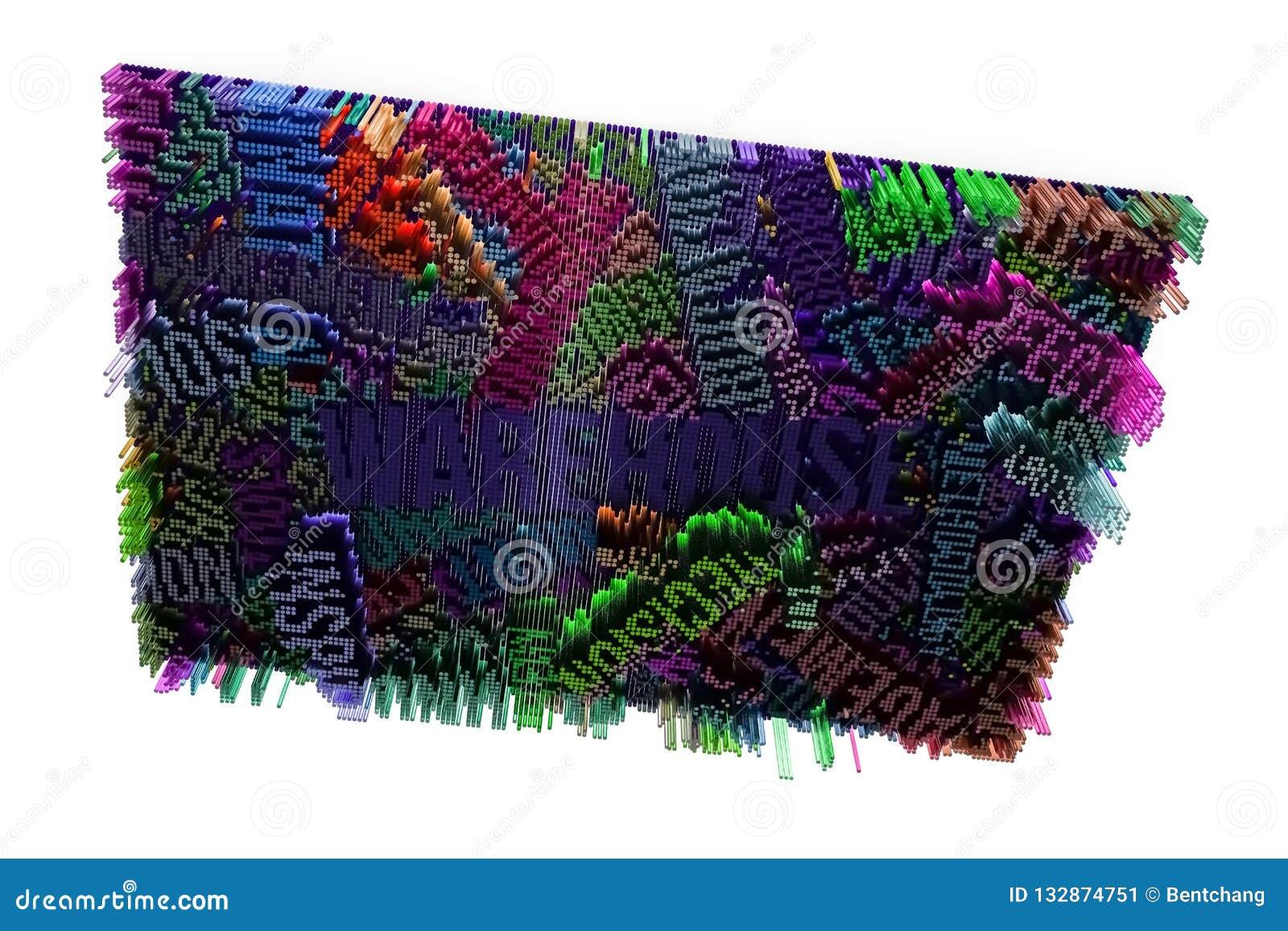 Sleutelwoord van Pakhuis Het kleurrijke 3d teruggeven Abstracte vorm comp