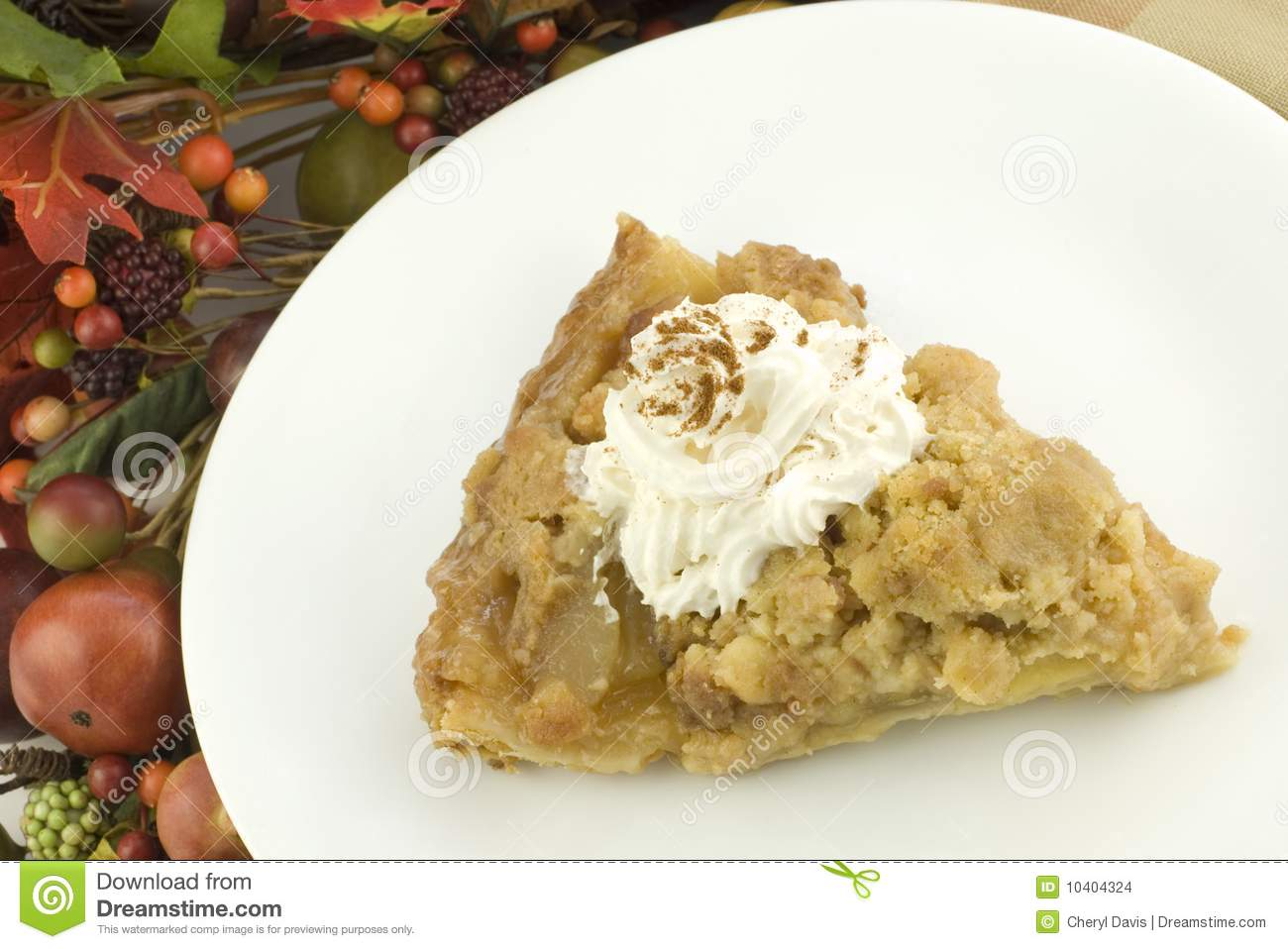 A slice of apple pie with fall decorations stock images for Apple pie decoration