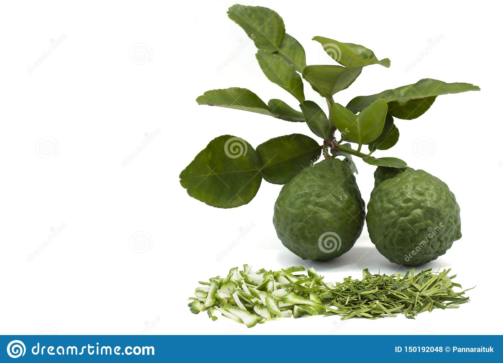 Slice Bergamot, Kaffir lime, Leech lime or Mauritius papeda fruit and leaf isolated on white background.