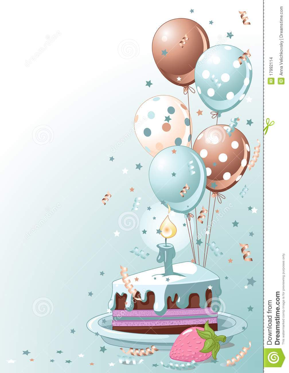 Slice Of Birthday Cake With Balloons Stock Vector Image
