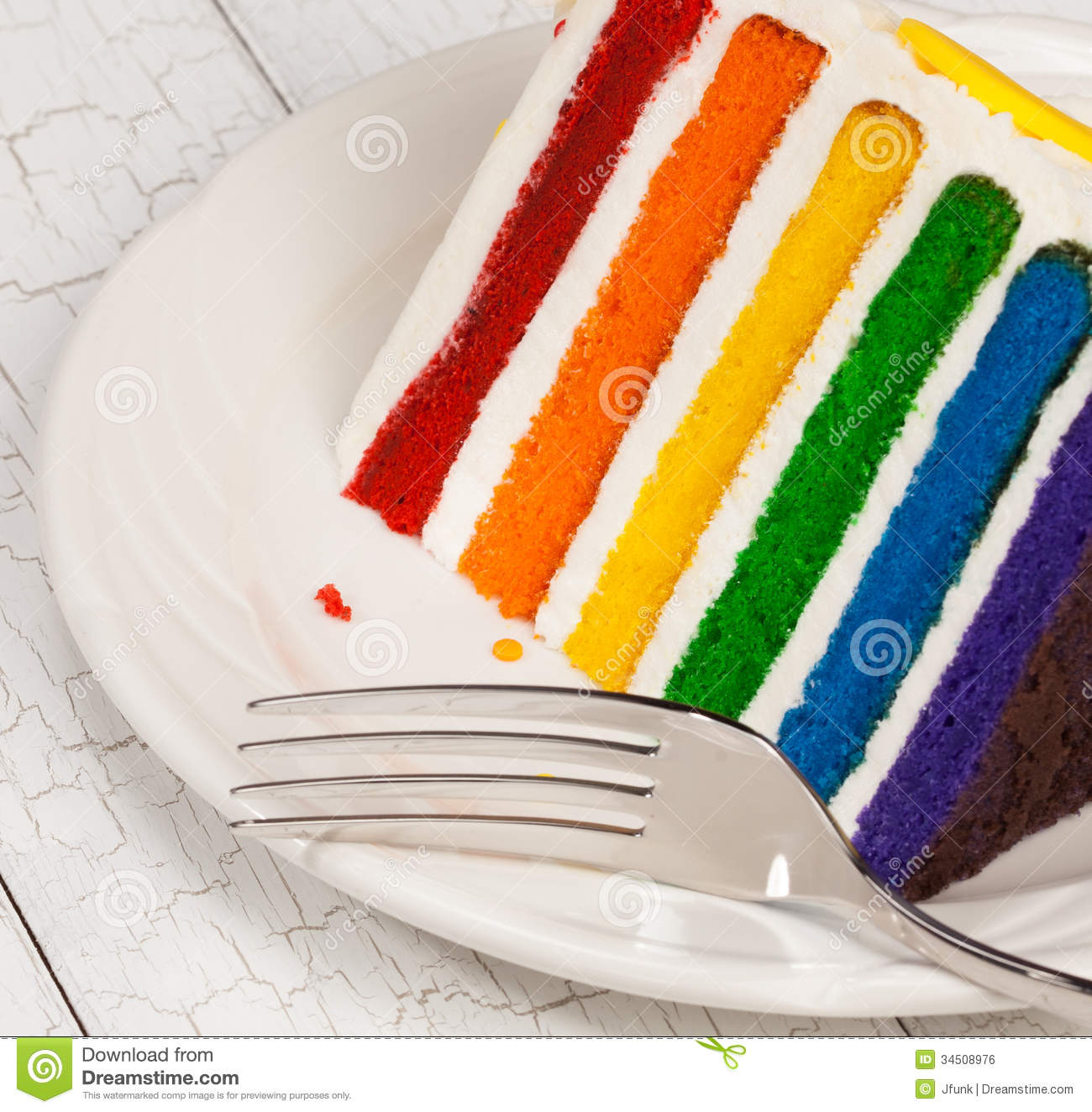 Slice Of Colourful Rainbow Layered Birthday Cake Decorated With Sprinkles And Buttercream Icing
