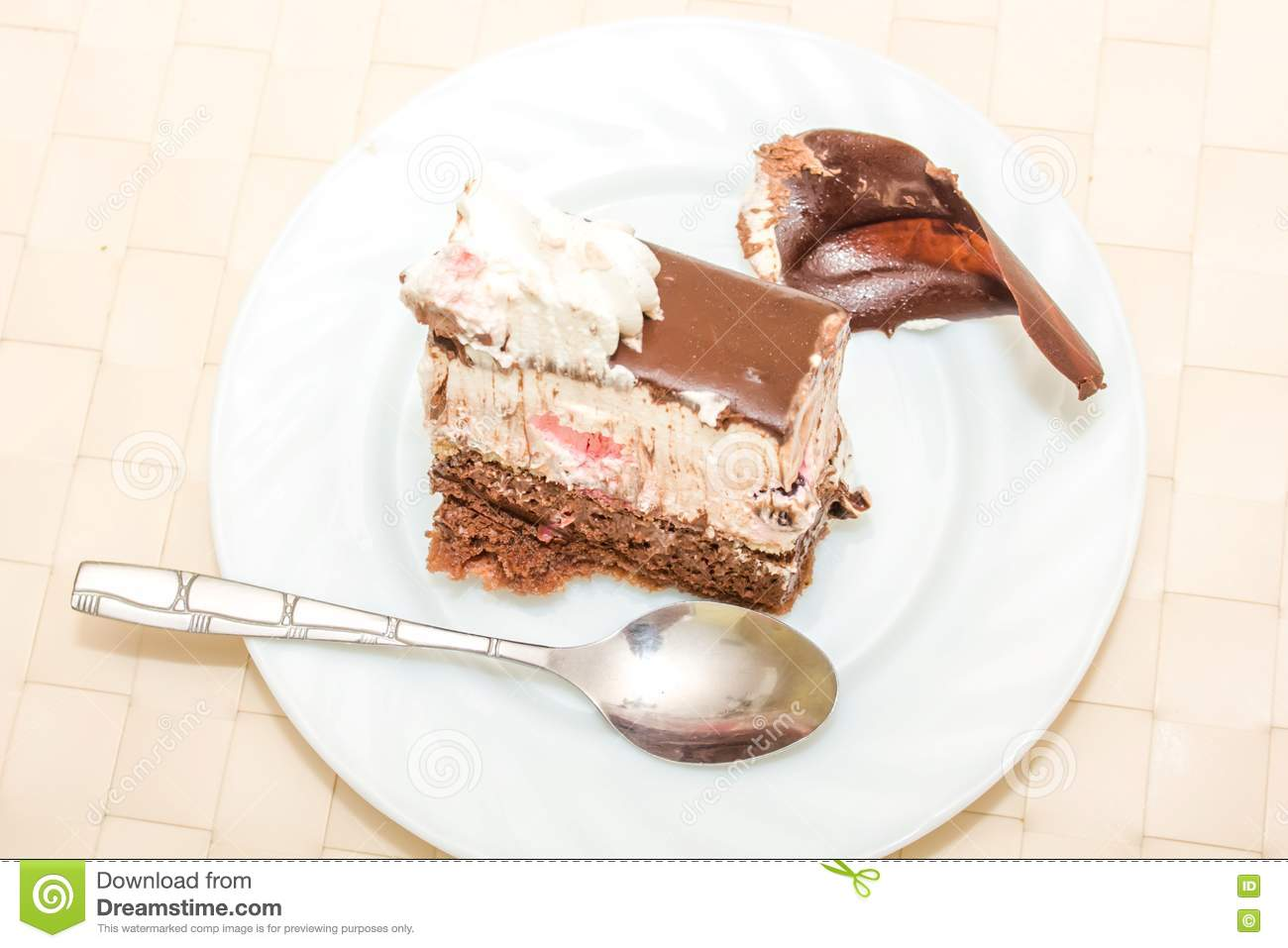 Prime A Slice Of Birthday Cake On A Plate Stock Photo Image Of Birthday Cards Printable Trancafe Filternl