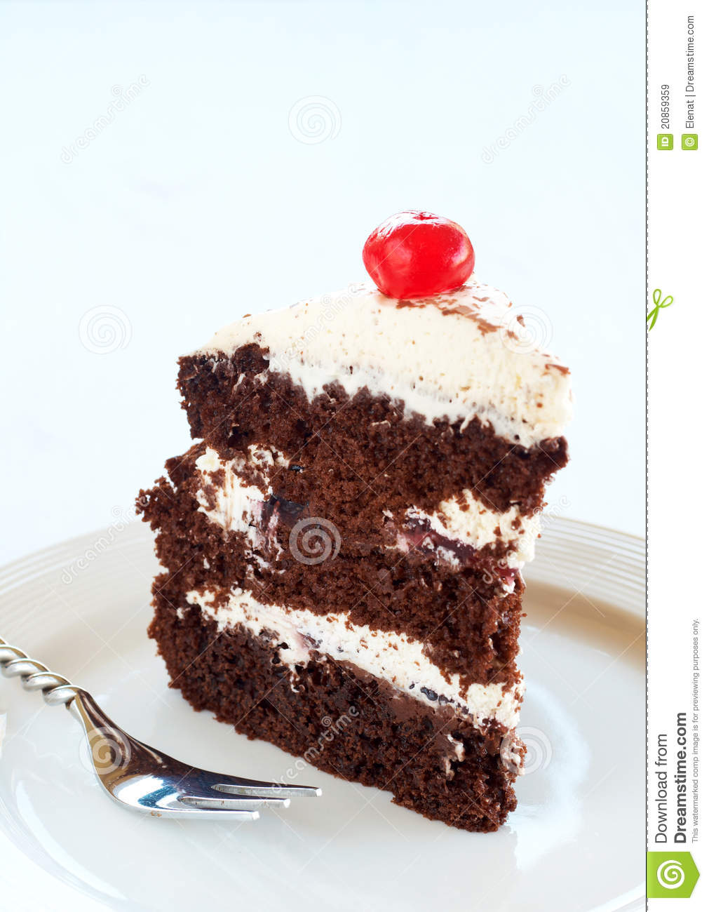 Slice of Black Forest cake with fresh cream and cherries, served on a ...
